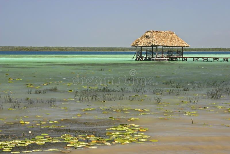 Palapa en el lago Bacalar foto de archivo libre de regalías