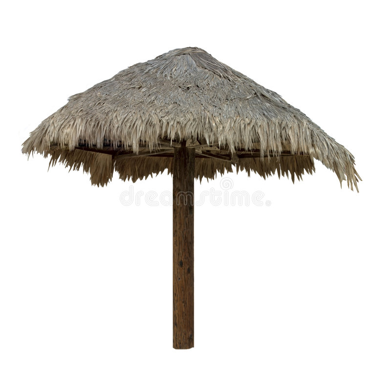 Palapa, guarda-chuva Thatched - isolado foto de stock