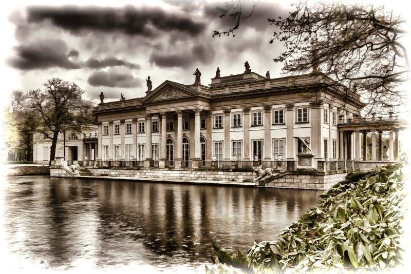 Palast auf dem Wasser in Lazienki-Park in Warschau in Polen lizenzfreies stockfoto