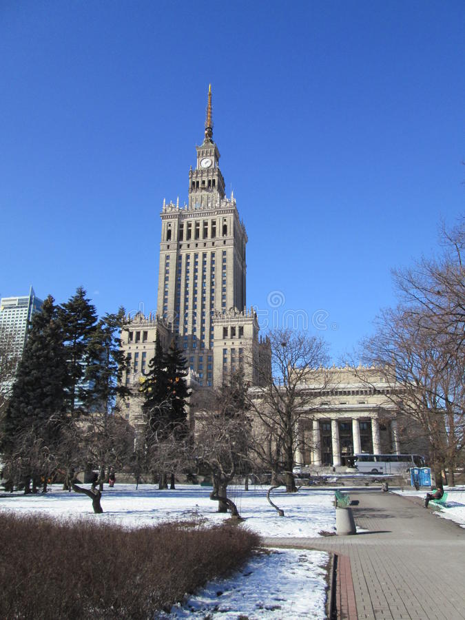 Palast der Kultur Warschau lizenzfreie stockbilder