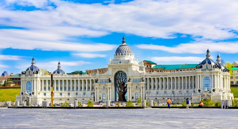 Palast von Landwirten in Kasan - Gebäude des Landwirtschaftsministeriums und des Lebensmittels, Republik von Tatarstan, Russland stockfotos