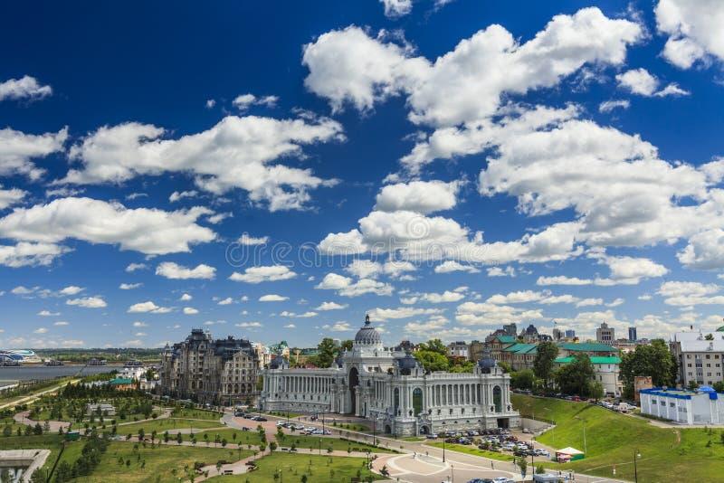 Palast von Landwirten - Ministerium von Umwelt und von Landwirtschaft Palast-Quadrat in Kasan, Republik von Tatarstan, Russland lizenzfreie stockfotos