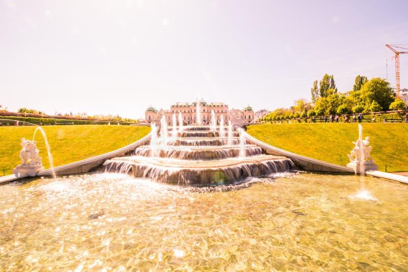 Palastgarten Belvedere in Wien, Österreich stockbilder
