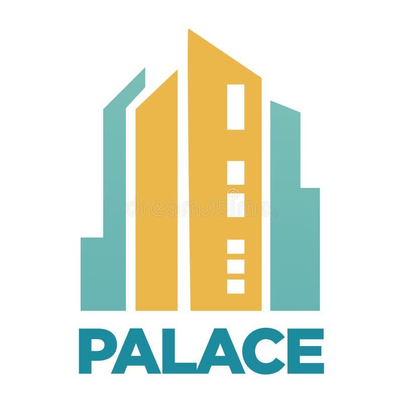 Palasthotel, das flache Vektorikone für Immobilienagentur oder -firma errichtet stock abbildung