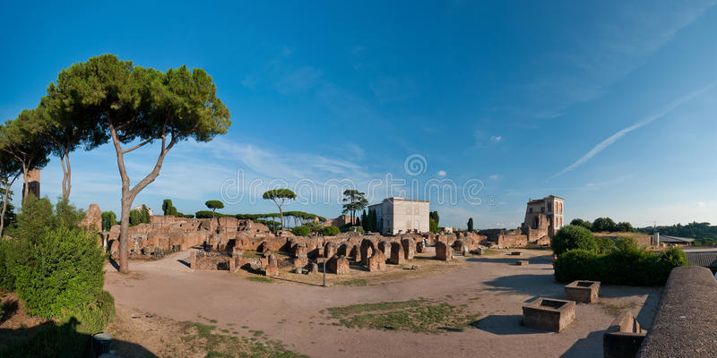 Palatine Hill. Panoramic view at the Palatine Hill ruins in Rome, Italy stock photo
