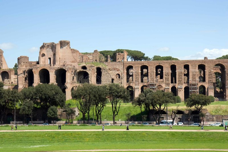 Palatine Hill. The ruins of the Imperial Roman Palace on Palatine Hill, Rome, Italy royalty free stock image