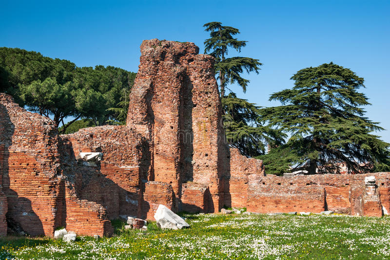 Palatine Hill, Ancient Rome. Ancient ruins on Palatin Hill, Rome. The Palatine Hill is the centermost of the Seven Hills of Rome and is one of the most ancient stock photos