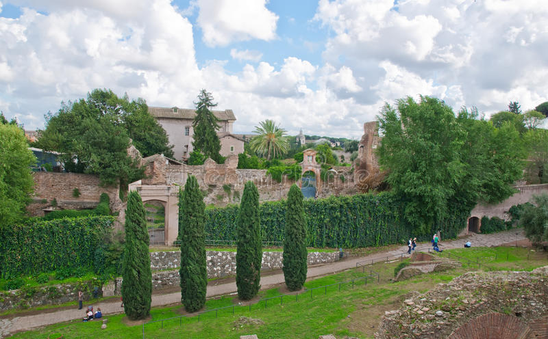 Palatine Hill in Rome. View of Palatine Hill in Rome in Italy stock photo