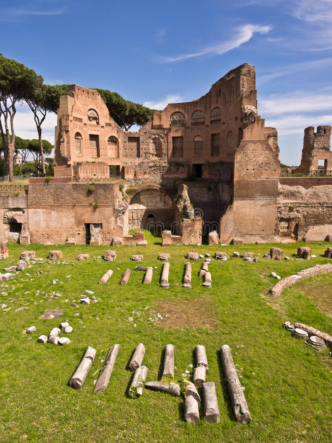 Palatine Hill Rome Italy. The ruins of the Stadium of Domitian on the Palatine Hill. Rome, Italy stock image
