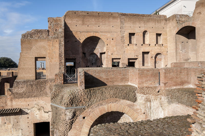 Palatine Hill. Ruins in the Palatine Hill, Rome, Italy stock photo