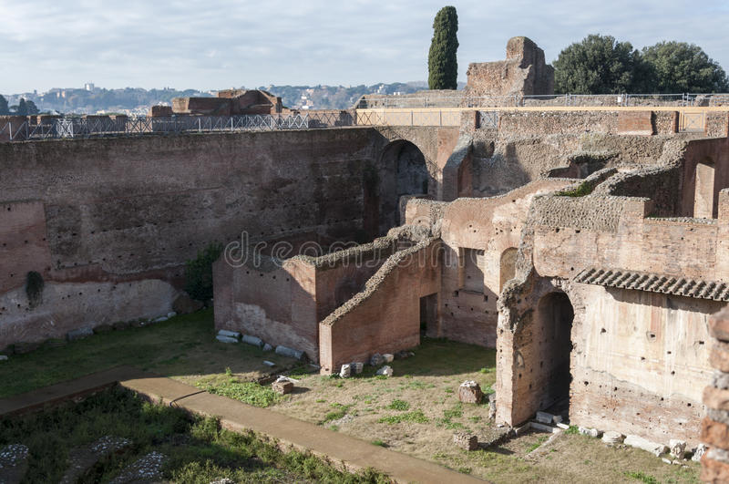 The Palatine Hill. Ruins in the Palatine Hill, Rome, Italy stock images