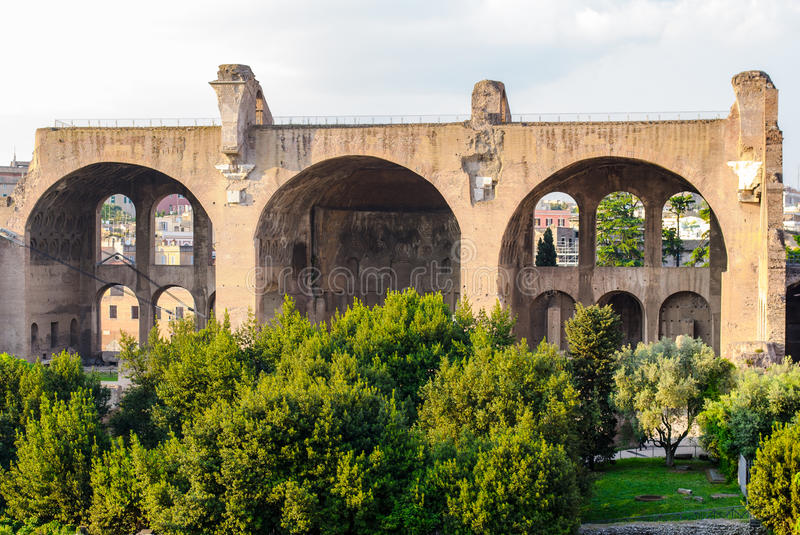 Palatine Hill ruins, Rome, Italy. Ancient Roman ruins of the Imperial Palace, at Palatine Hill, Rome, Italy royalty free stock image