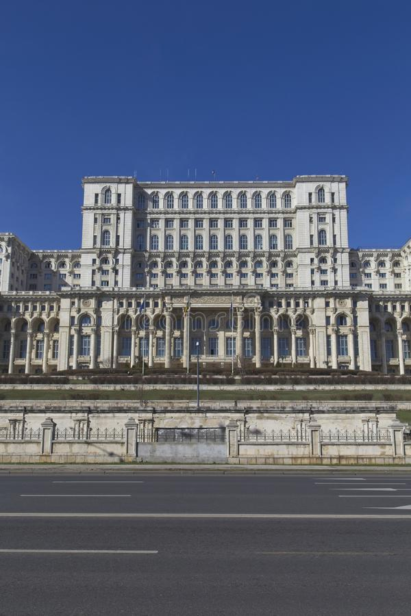 Palatul Parlamentului. BUCHAREST, ROMANIA - MARCH 7, 2017: Palace of the Parliament which was started under Communist leader, Nicolae Ceausescu and is one of the stock images