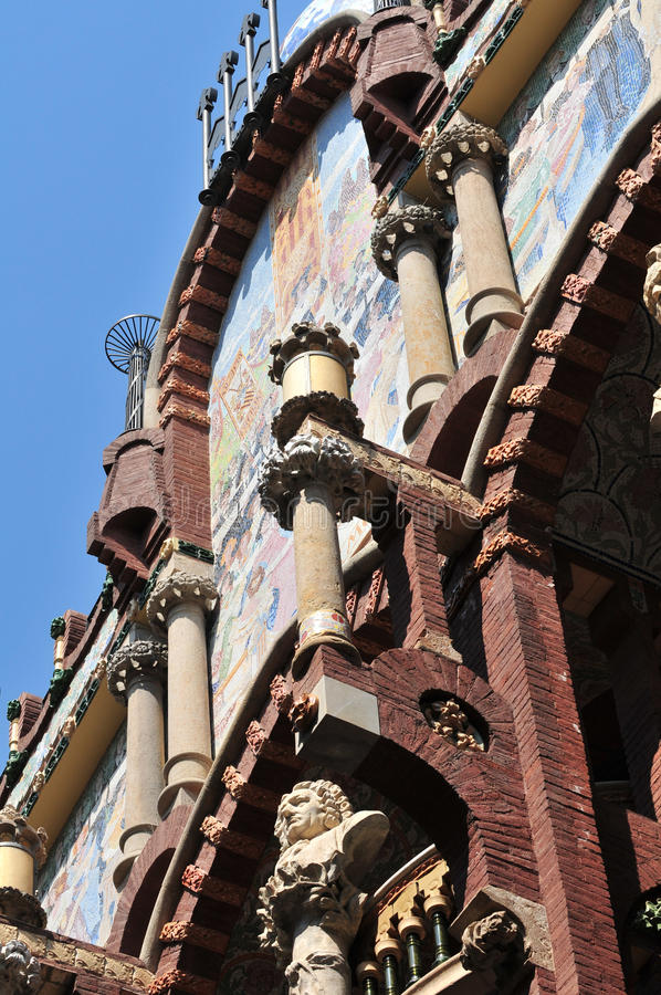 Palau de la Musica. Catalana in Barcelona (Palace of Catalan Music) is a concert hall designed in the Catalan modernista style by the architect Lluis Domenech i stock images
