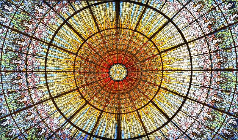Palau de la Musica Catalana skylight of stained glass, Barcelona, Spain. Palau de la Musica Catalana skylight of stained glass designed by Antoni Rigalt whose royalty free stock images