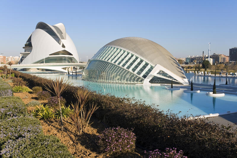 Palau de les Arts and Hemisferic in Valencia, Spain. stock photography