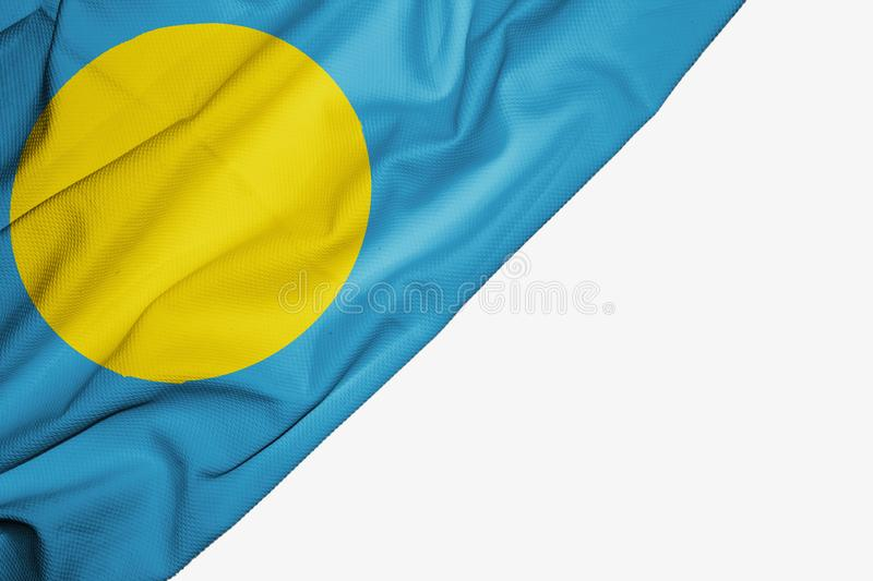 Palau flag of fabric with copyspace for your text on white background. Micronesia banner best blue capital colorful competition country ensign free freedom stock illustration