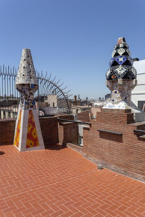 Palau Guell kominy obraz royalty free