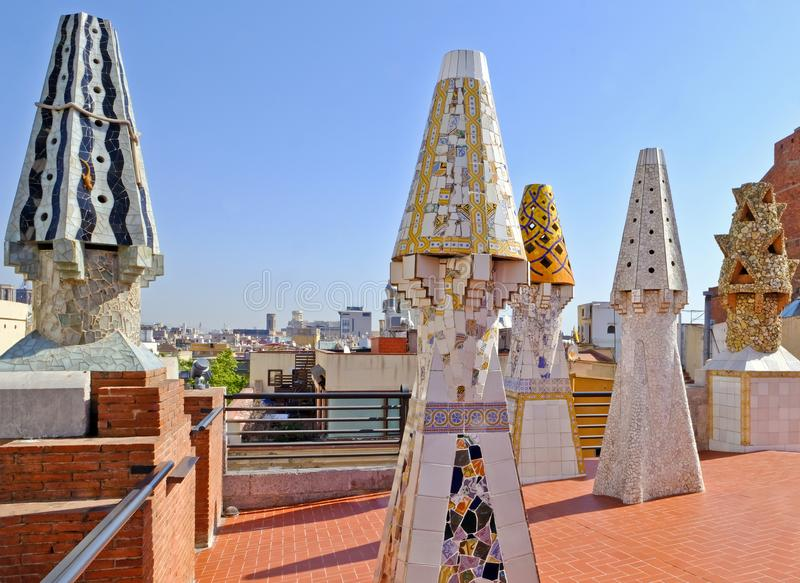 Palau Guell palace roof terrace, Barcelona royalty free stock photo