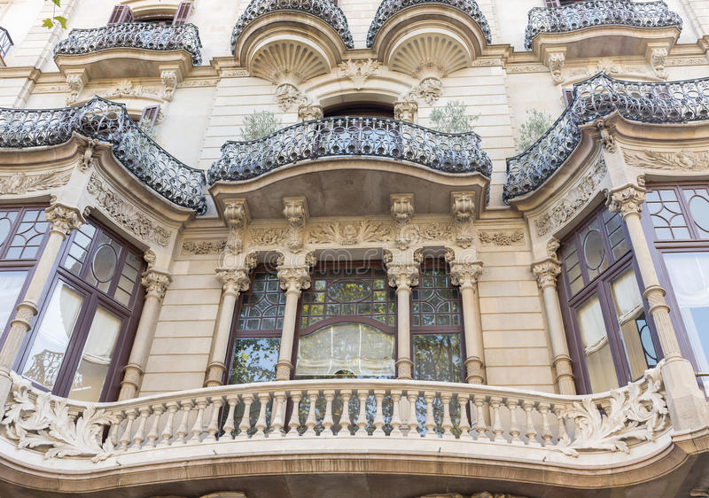 Palau Malagrida - Barcelona - Spanien royaltyfri fotografi