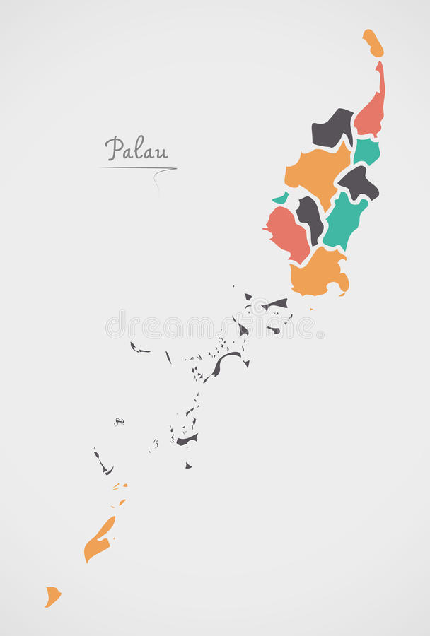 Palau Map with states and modern round shapes. Illustration royalty free illustration