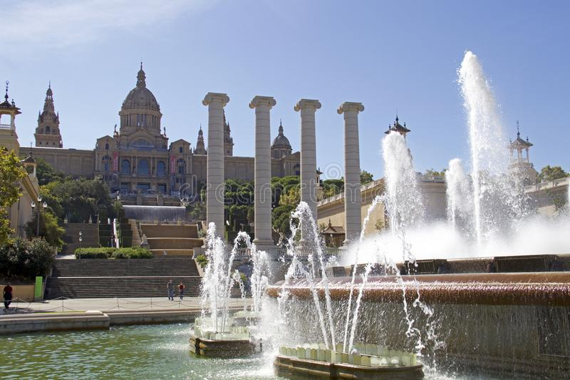 Palau Nacional with the Magic Fountain of Montjuïc royalty free stock images