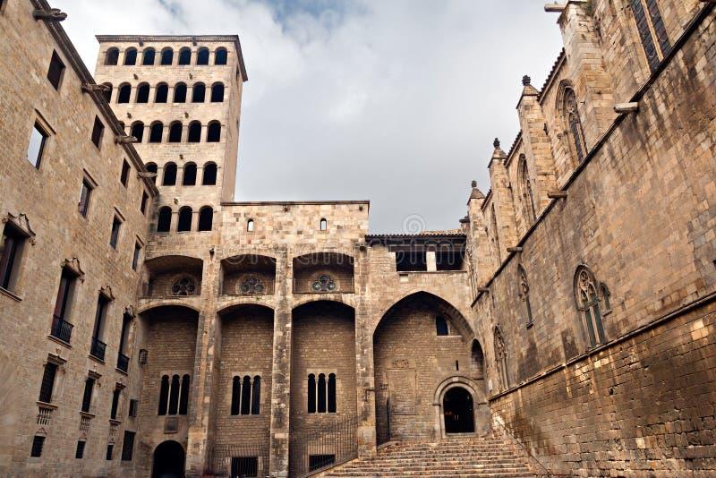 Palau Reial Major at Plaça del Rei stock images