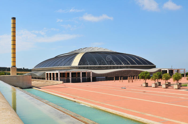 Palau Sant Jordi, Barcelona. Barcelona, Spain - 09 July, 2012: Palau Sant Jordi (St. George's Palace) is an indoor sporting arena part of the Olympic Ring royalty free stock photo