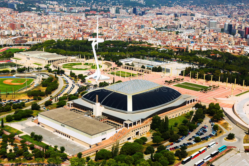 Palau Sant Jordi and Montjuic Communications Tower royalty free stock photo