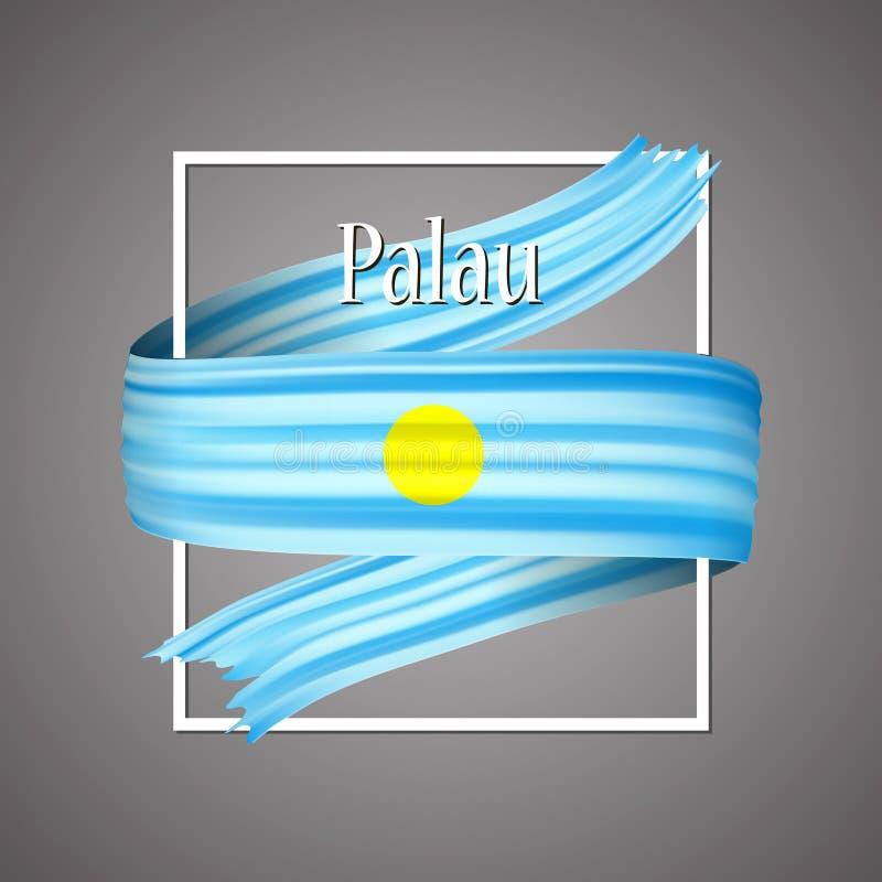 Palau señala por medio de una bandera Colores nacionales oficiales Cinta realista de la raya de Palau 3d Fondo de la muestra del  stock de ilustración