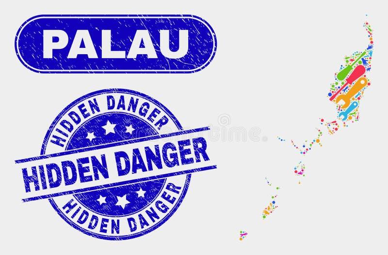 Palauisk översikt för produktion och att bedröva gömda farastämpelskyddsremsor stock illustrationer