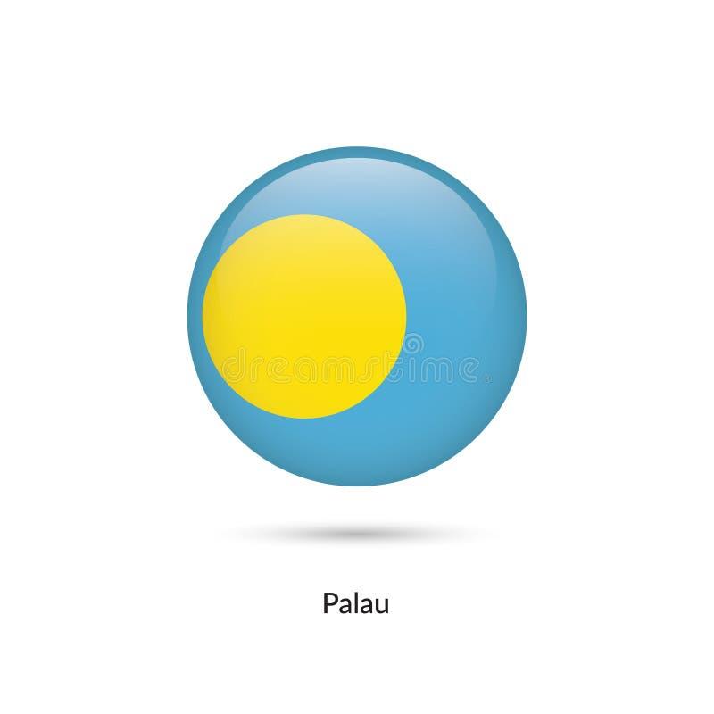 Palauisk flagga - rund glansig knapp royaltyfri illustrationer
