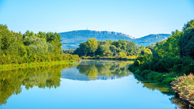 Palava Hills above Nove Mlyny Reservoir on sunny summer day. Palava Protected Landscape Area, Southern Moravia, Czech stock image