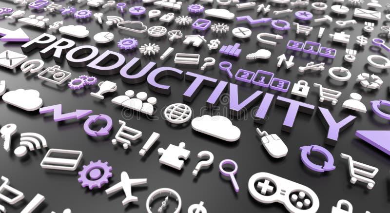 palavra 'da produtividade 'com ícones 3d ilustração royalty free