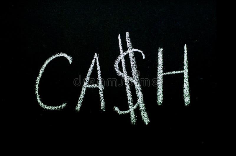 Palavra ?dinheiro ?escrito no quadro-negro foto de stock