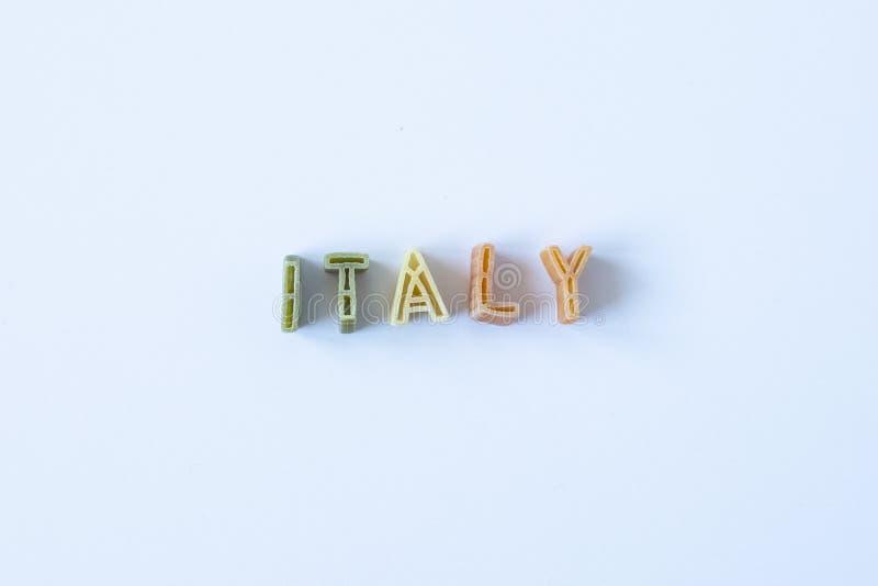 A palavra 'Itália 'fez com letras da massa foto de stock