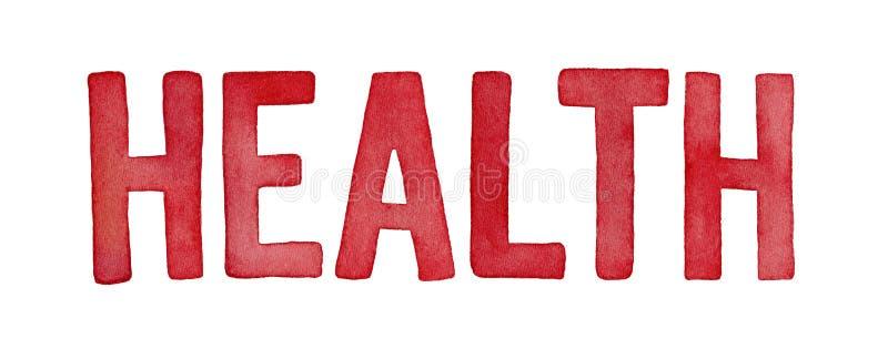 Palavra 'saúde ', ilustração do watercolour fotos de stock