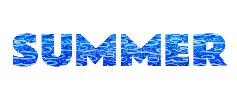 A palavra 'verão ' Inscrição azul no fundo branco fotografia de stock