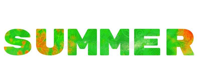 A palavra 'verão ' Inscrição verde no fundo branco fotografia de stock
