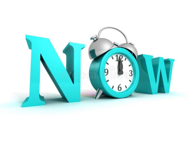 Palavra agora azul e despertador no branco ilustração stock