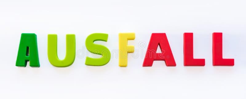 Palavra alemão para 'a falha 'como um símbolo da falha das lições devido às economias na política da educação fotos de stock