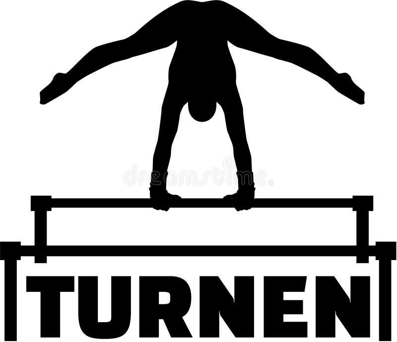 Palavra alemão para a ginástica com barras desiguais ilustração stock
