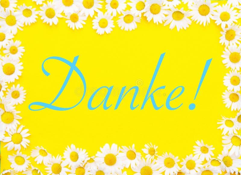 Palavra alemão para Thank você no fundo amarelo quadro por margaridas ilustração royalty free