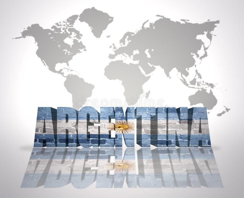 Palavra Argentina em um fundo do mapa do mundo ilustração royalty free