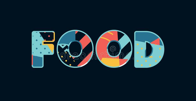 Palavra Art Illustration do conceito do alimento ilustração stock
