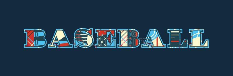 Palavra Art Illustration do conceito do basebol ilustração stock