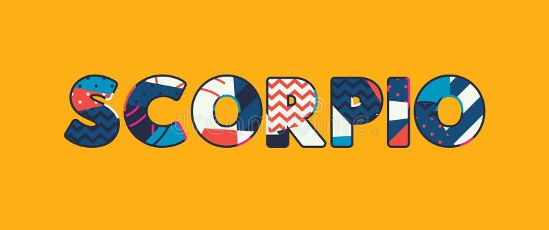 Palavra Art Illustration do conceito da Escorpião ilustração stock