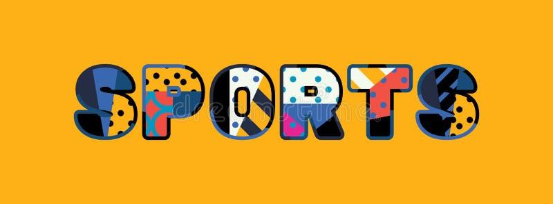 Palavra Art Illustration do conceito dos esportes ilustração royalty free