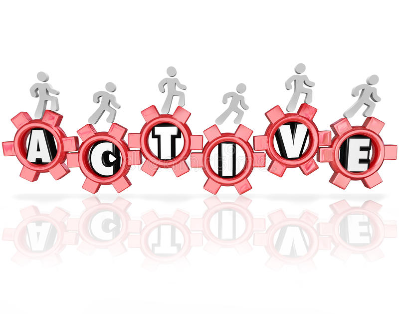 A palavra ativa alinha os povos que exercitam a aptidão da atividade física ilustração stock