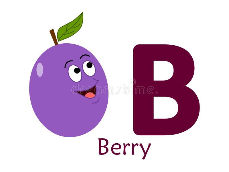 Palavra B do alfabeto B para a baga ilustração stock
